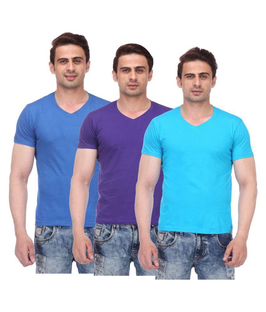 TeesTadka Multi V-Neck T-Shirt Pack of 3