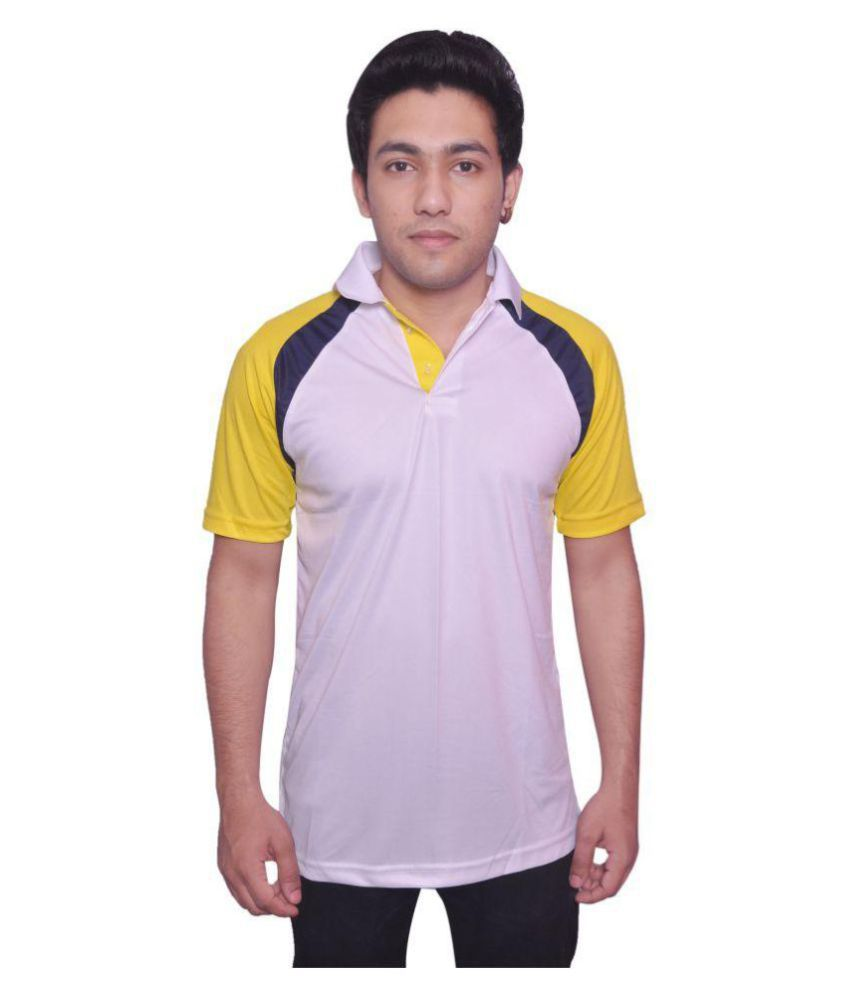 Dyed Colours White Polyester T-Shirt
