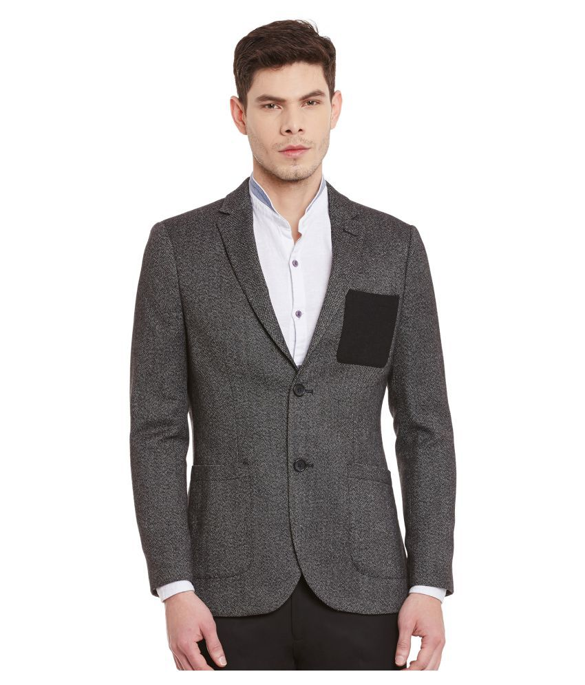 Envoy Black Solid Casual Blazers