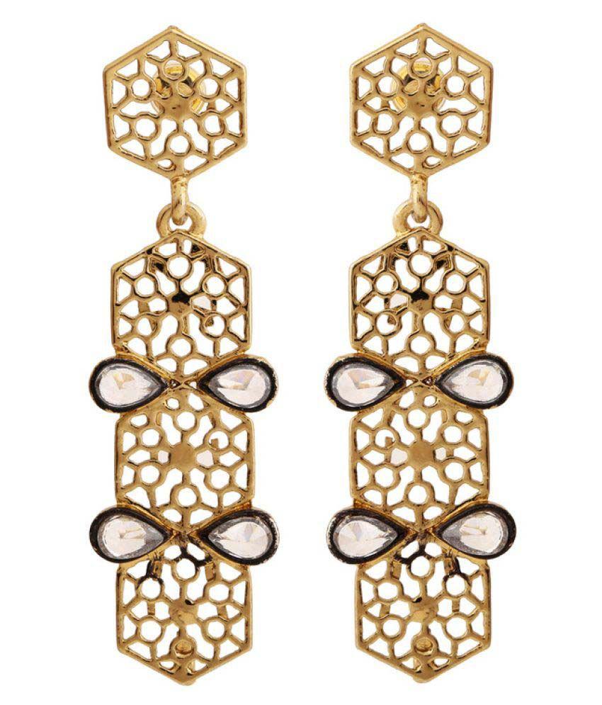 Rajwada Arts Golden Brass Hangings Earrings