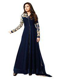 Fashion Bucket Blue Georgette Anarkali Gown Semi-Stitched Suit