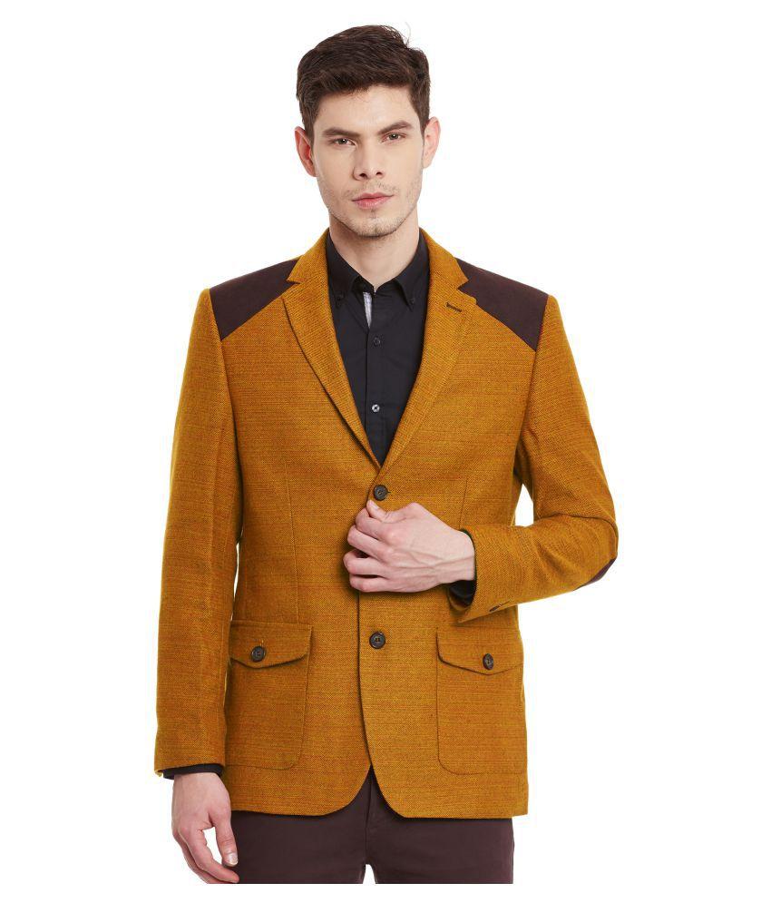 Envoy Orange Solid Casual Blazers