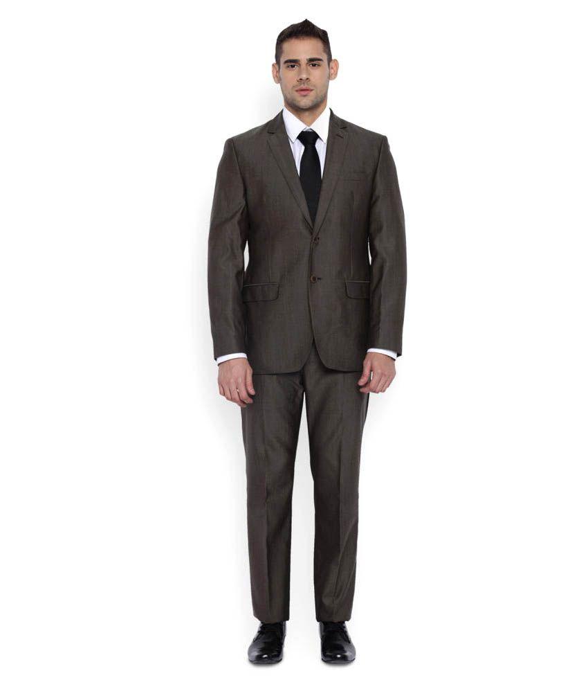 Park Avenue Brown Plain Formal Suit