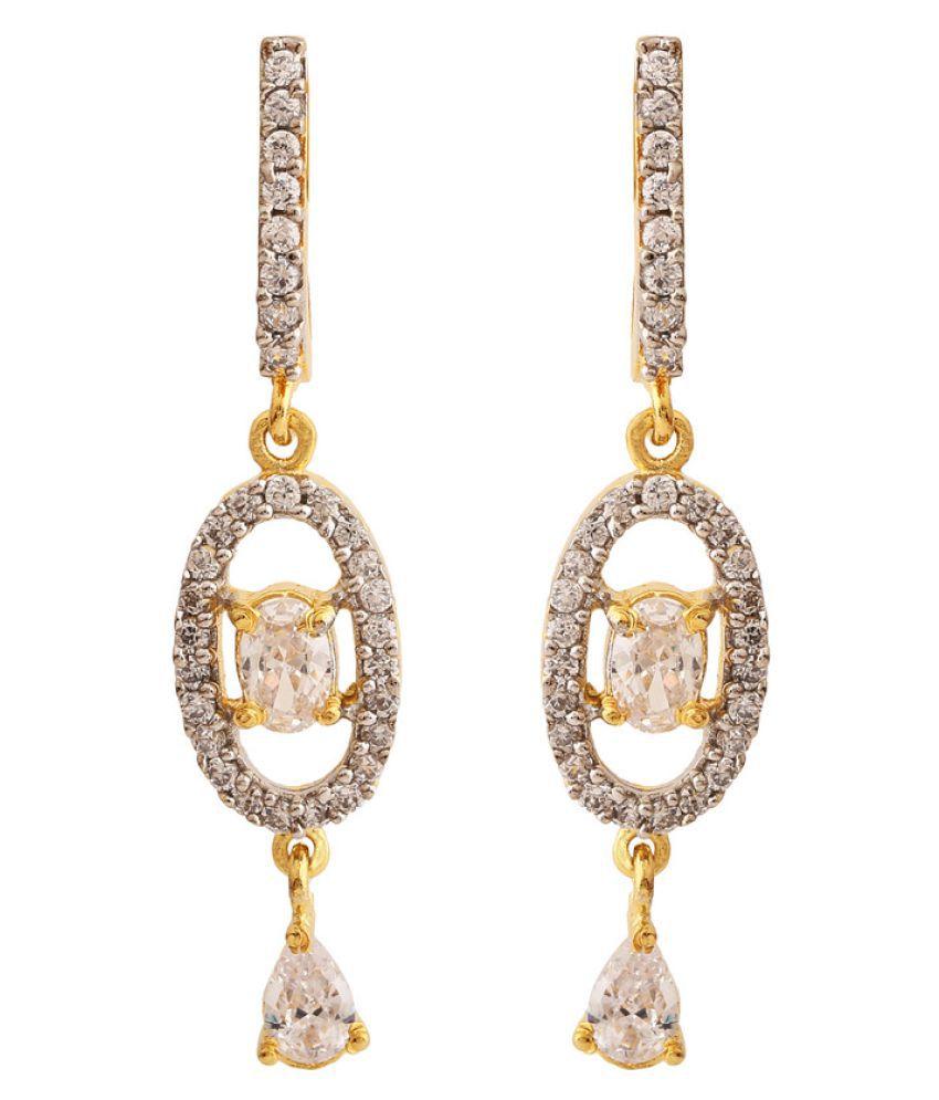 Rajwada Arts American Diamond Studded Silver Earrings