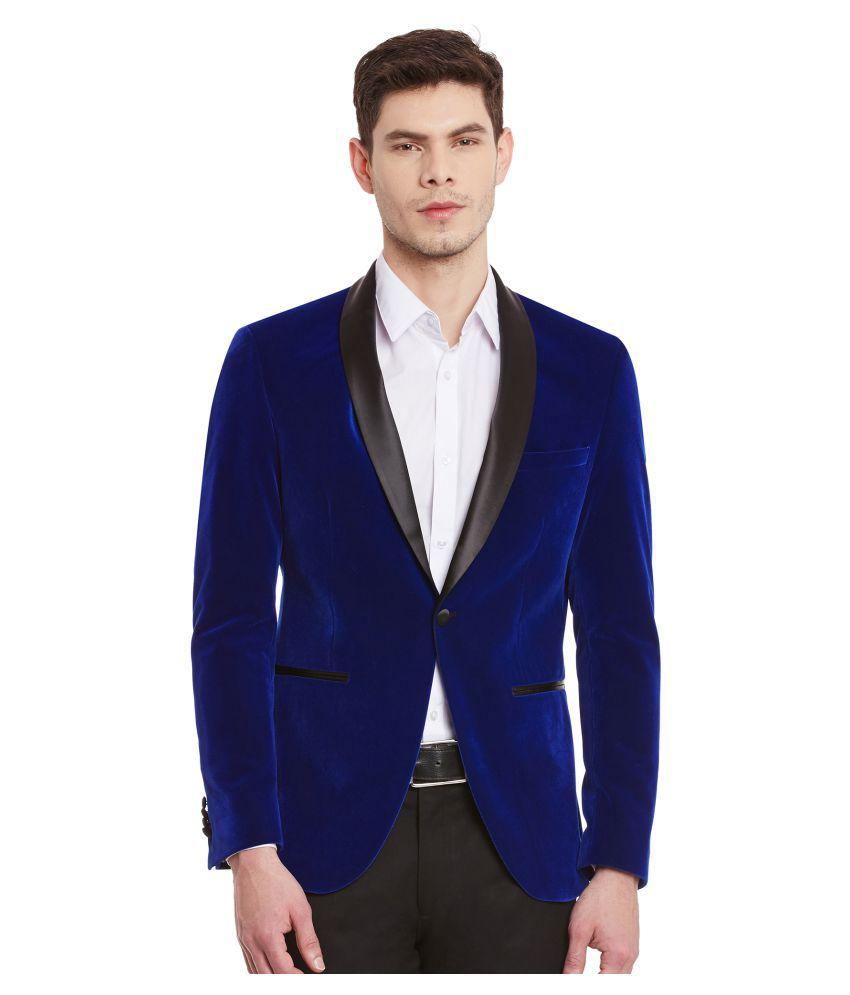 Envoy Blue Solid Casual Blazers