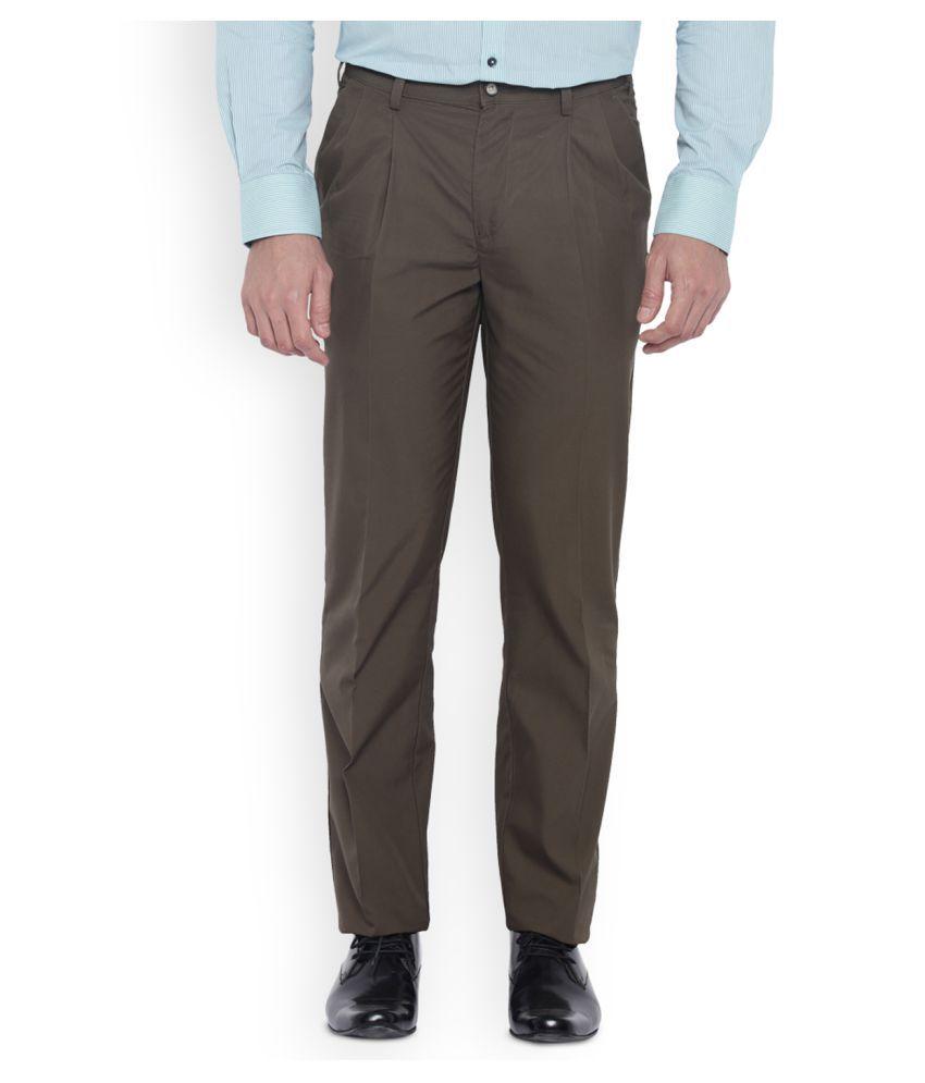 Park Avenue Brown Slim Pleated Trousers