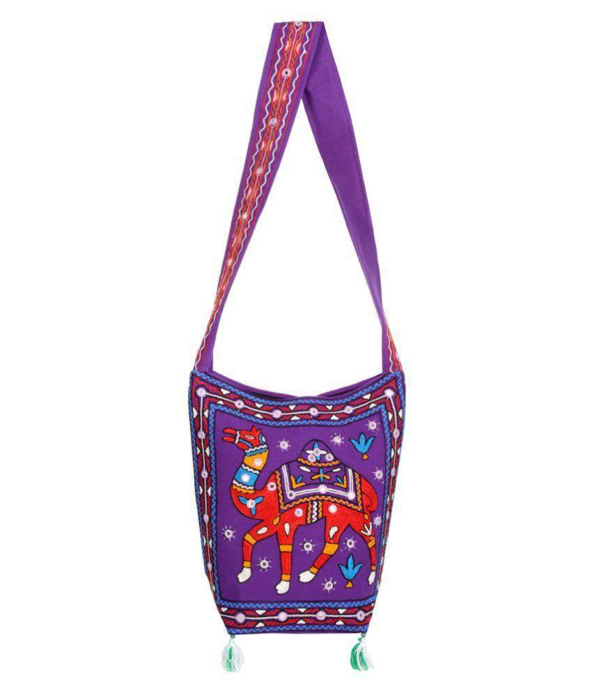 Rajrang Purple Cotton Sling Bag