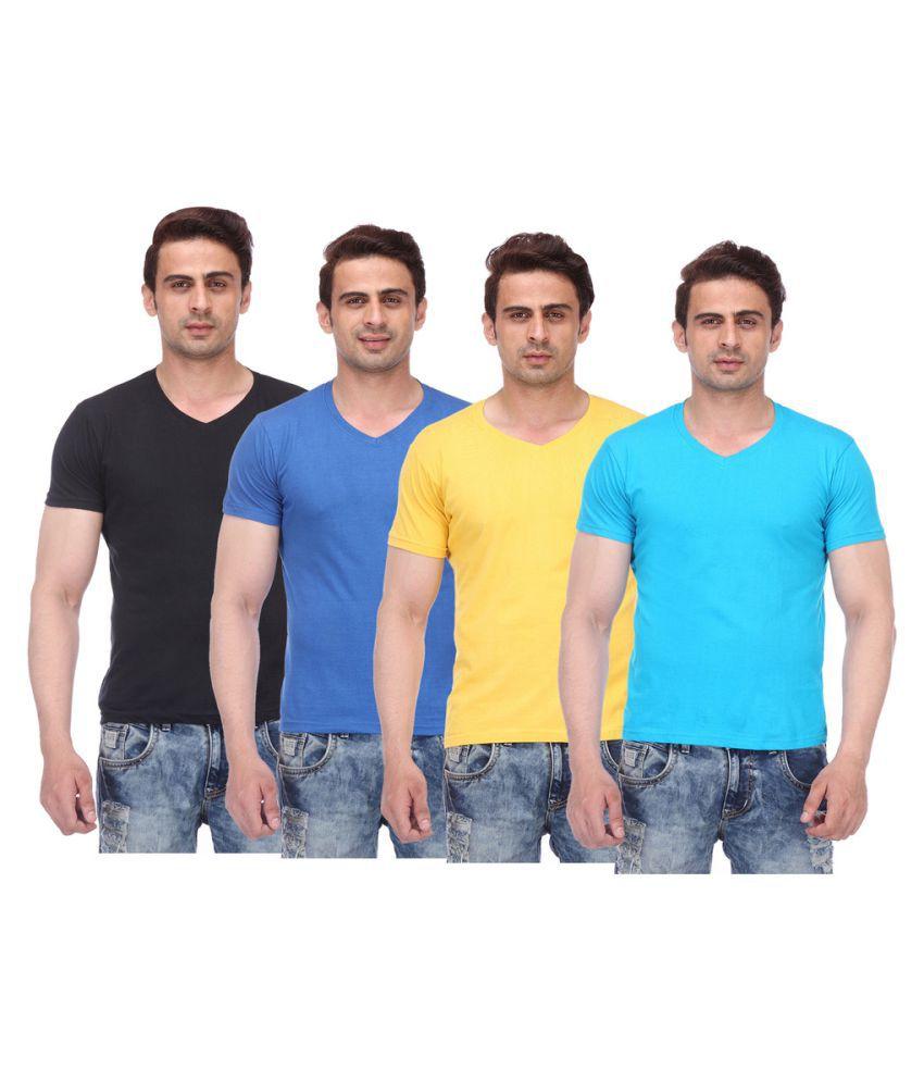 TeesTadka Multi V-Neck T-Shirt Pack of 4