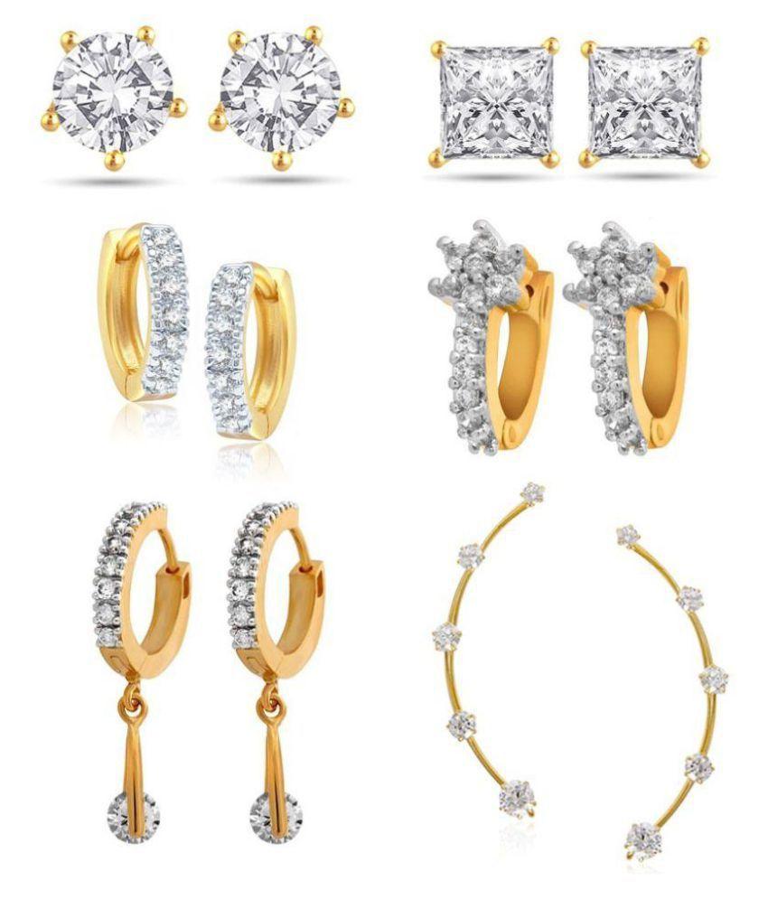 Jewels Gehna Golden Earrings - Pair of 6