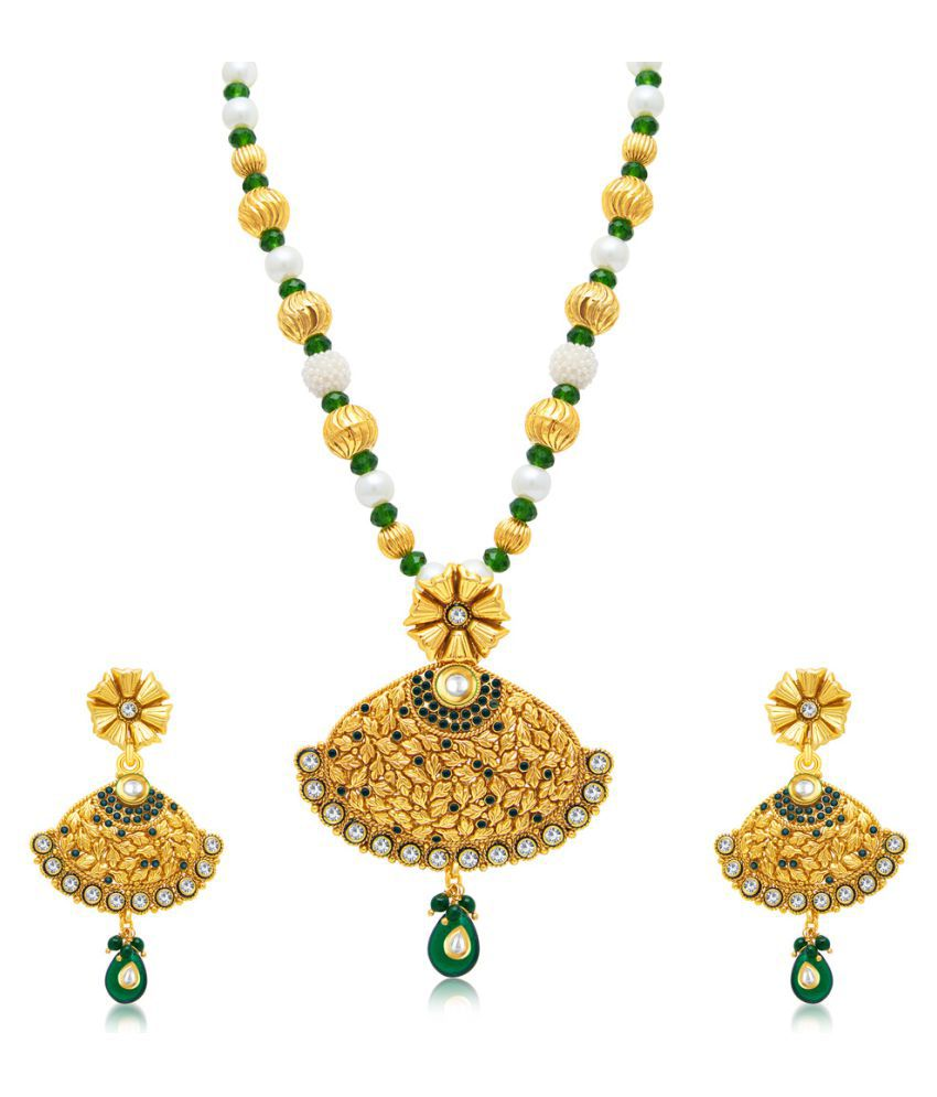 Sukkhi Traditionally Gold Plated Long Haram Necklace Set For Women