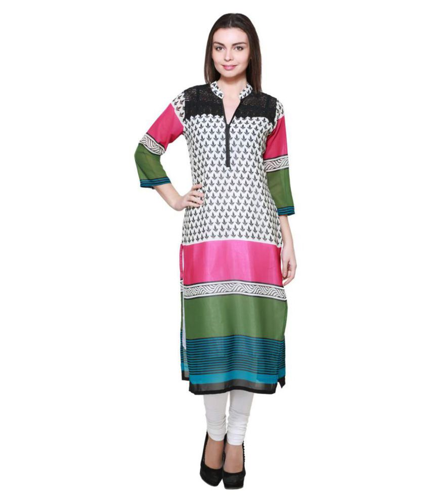 Anksh Multicoloured Polyester Straight Kurti