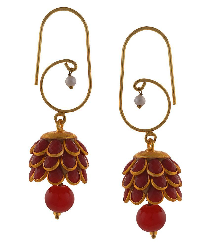 Zephyrr Fashion Red Alloy Traditional Lightweight Golden Hook Hangings Earrings
