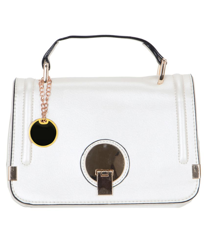 Crawler White Faux Leather Sling Bag