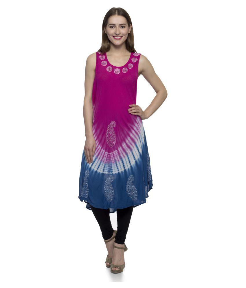 One Femme Multicoloured Viscose A-line Kurti