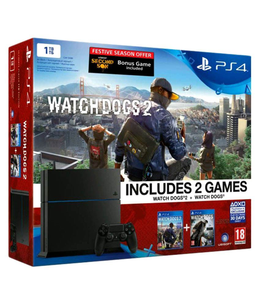Sony Playstation 4 1TB Console with 3 Games (WatchDogs I, WatchDogs II & Infamous Second Son)