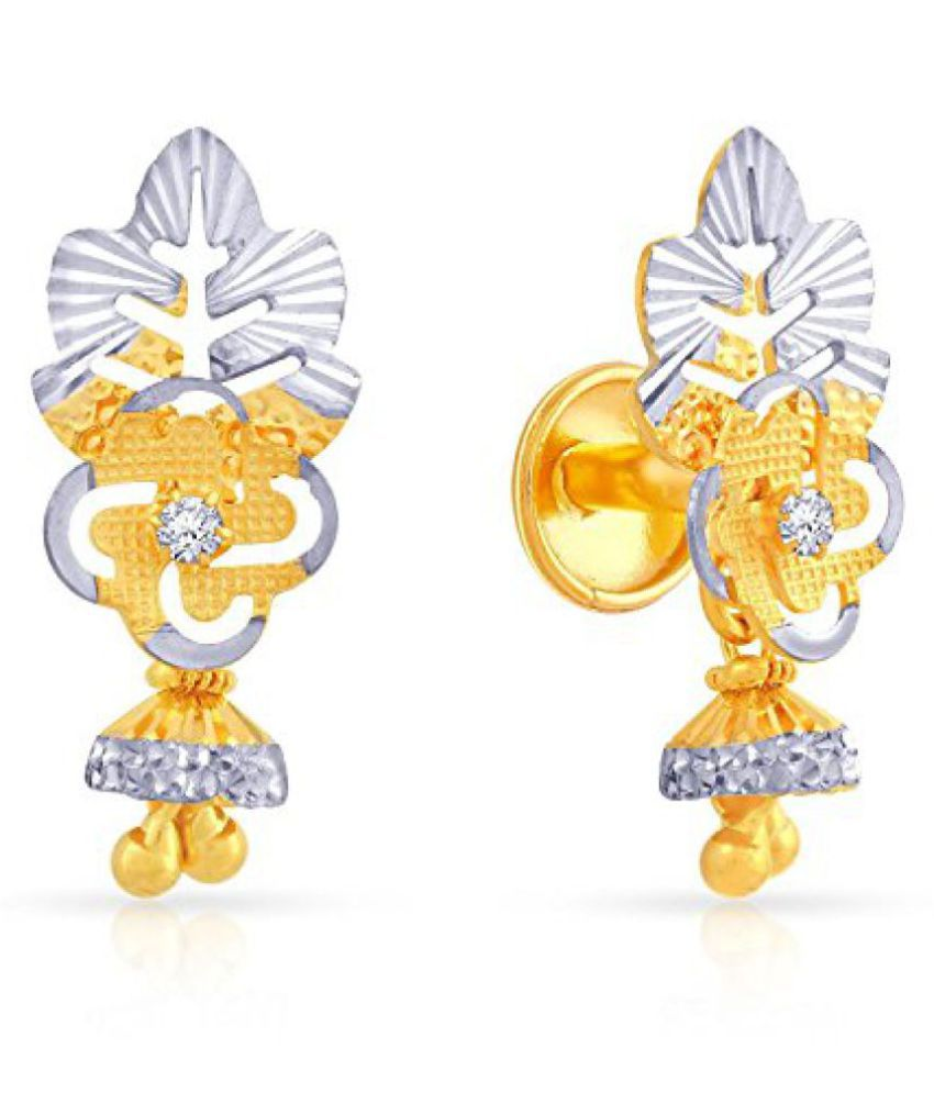 Malabar Gold and Diamonds 22k (916) Two Colour Gold and Cubic Zirconia Drop Earrings