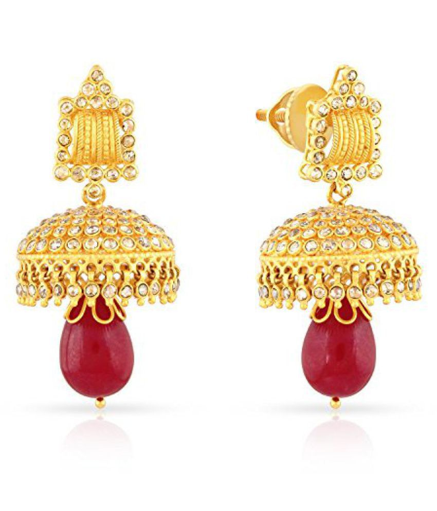 Malabar Gold and Diamonds Era Collection 22k (916) Yellow Gold and Ruby Jhumki Earrings