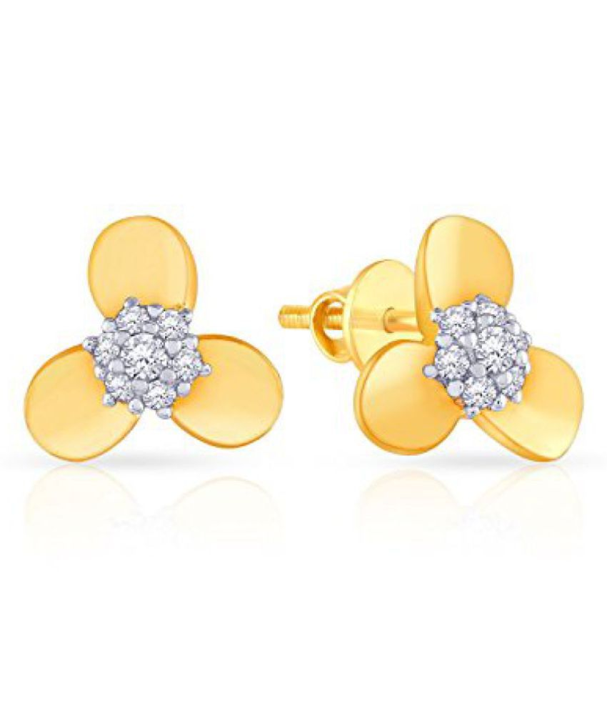 Malabar Gold and Diamonds Mine 18k Yellow Gold and Diamond Stud Earrings