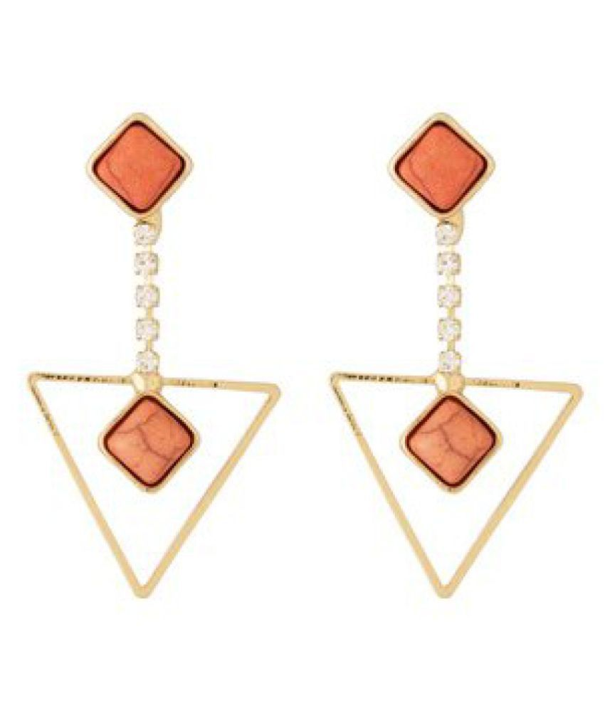 Voylla Pyramid Drop Earrings With Coral Stone