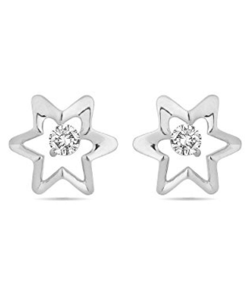 Voylla Sterling Silver Star Shaped Stud Earrings Made With Swarovski Zirconia