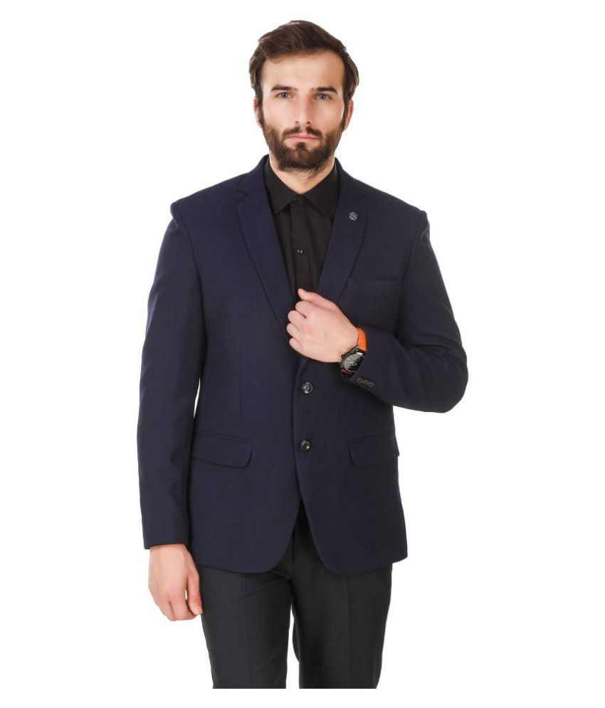 Austin-M Blue Solid Formal Blazers