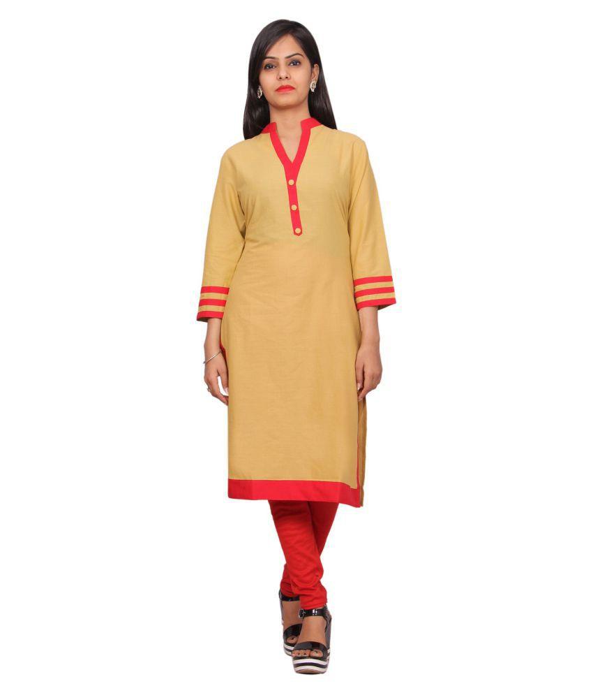 Gurukripa Shopee Orange Cotton Straight Kurti