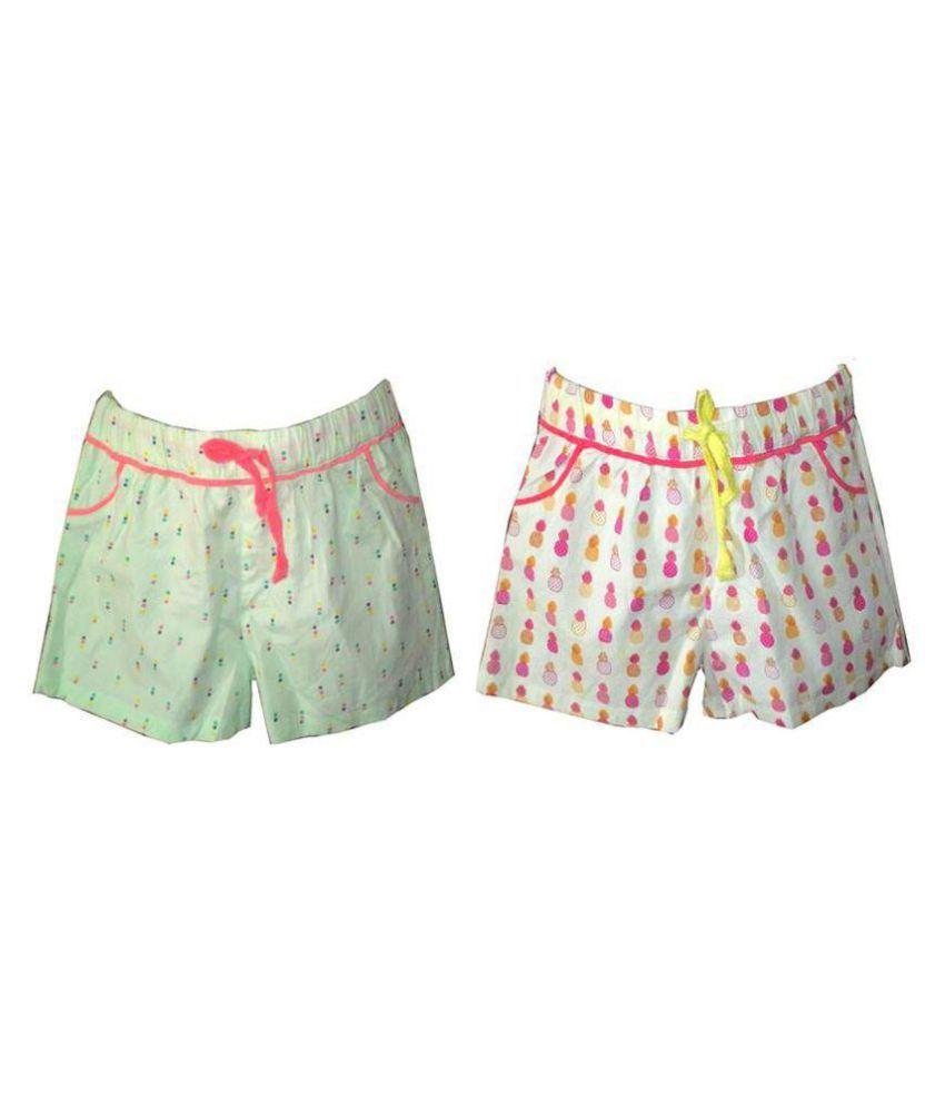 Girls Cotton Printed Shorts,Combo of 2 shorts.