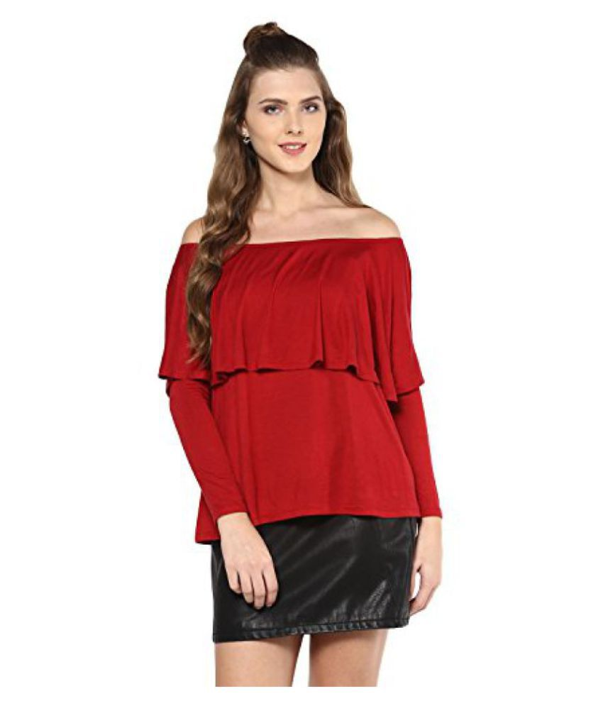 Femella Fashion's Maroon Off Shoulder Top