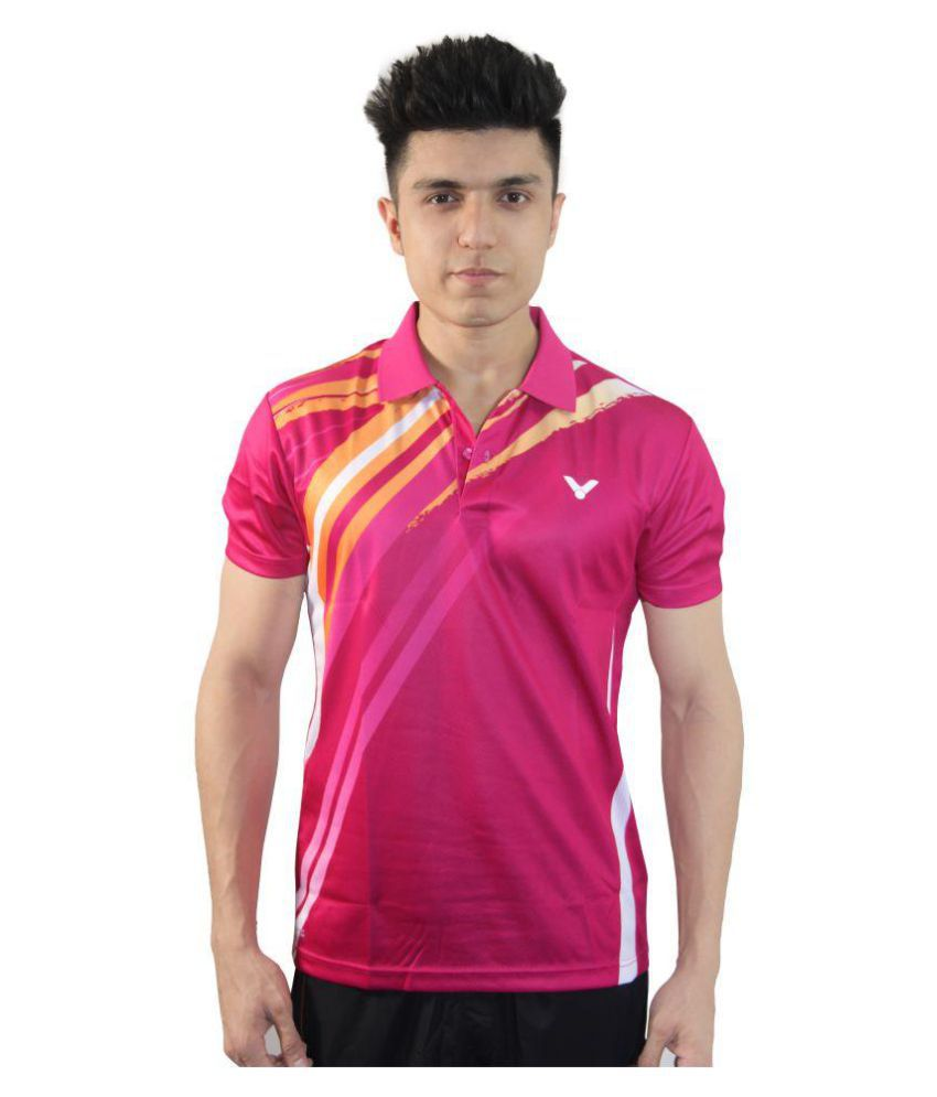 Victor Pink Polyester Polo T-Shirt Single Pack