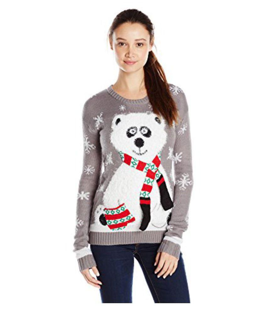 Derek Heart Juniors\' Panda Bear Pullover Ugly Christmas Sweater ...