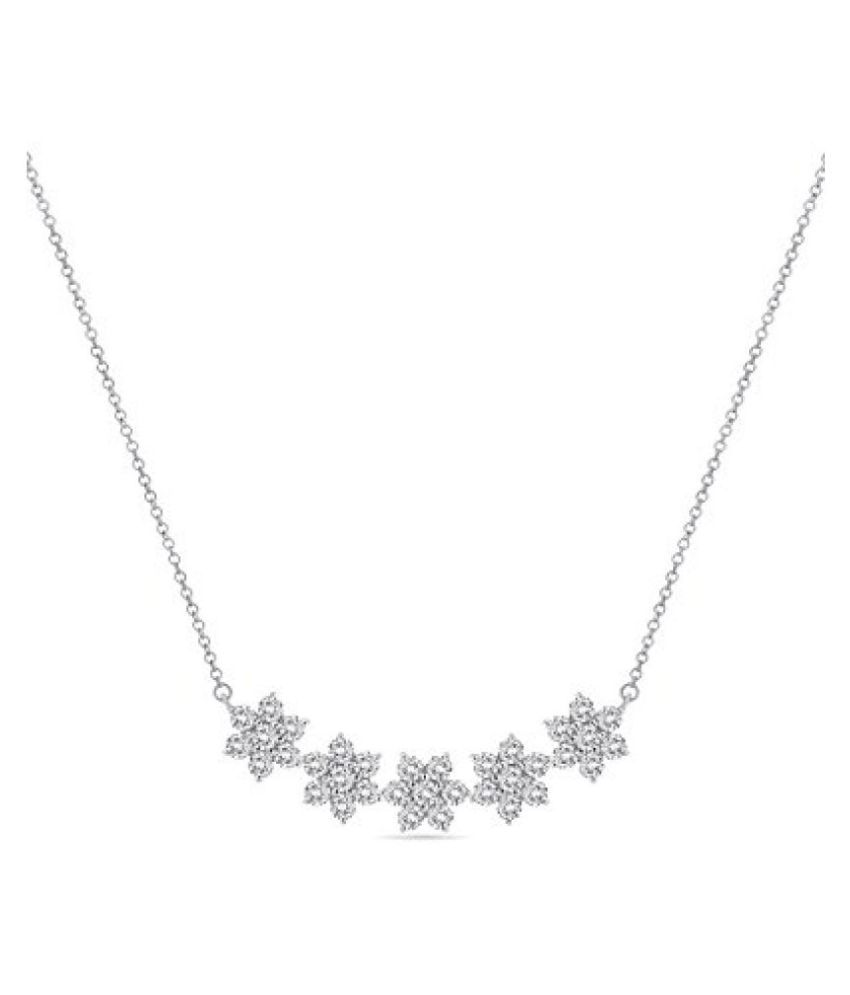 Voylla Sterling Silver Rhodium Plated Studded With Swarovski Stones Necklace for Women