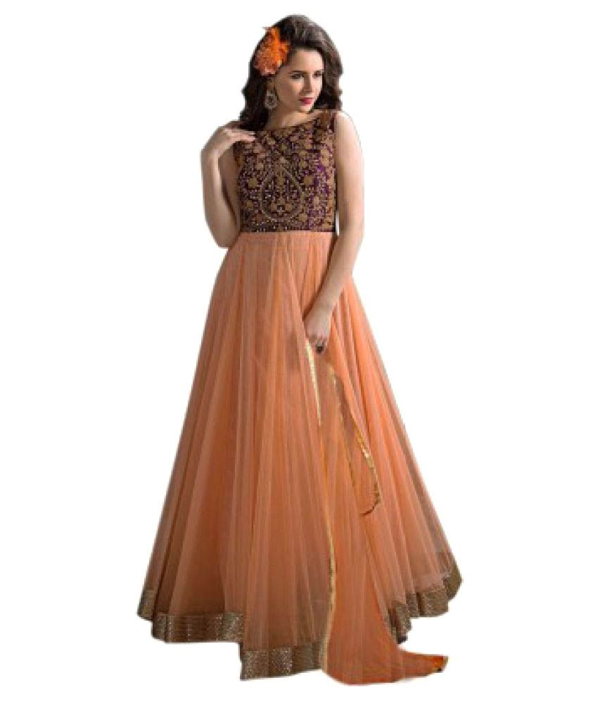 Seewans Orange Net Dress Material