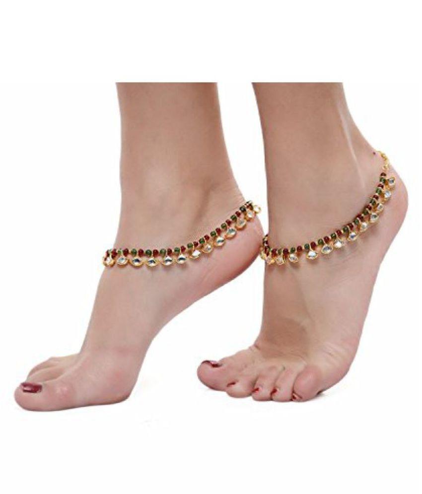 Shining Diva Pretty Pair of Reversible Kundan Meenakari Anklet Payal For Girls & Women