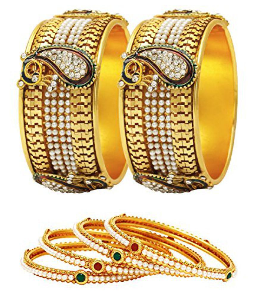 Jewels Galaxy Combo Of Broad Mayur Bangles and Pearls Bangles - Pack Of 6