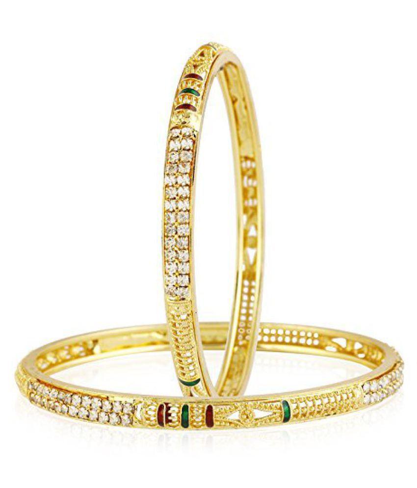 Jewels Galaxy Hand Crafted Meenakari Australian Diamond Bangles