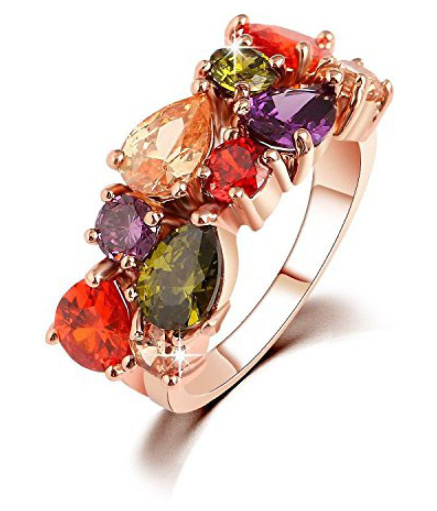 Jewels Galaxy Luxuria AAA Swiss Cubic Zirconia 18K Rose Gold Plated Sparkling Ring For Women