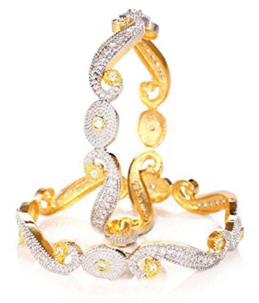Jewels Galaxy Mayur Broad Hand Made American Diamond Bangles