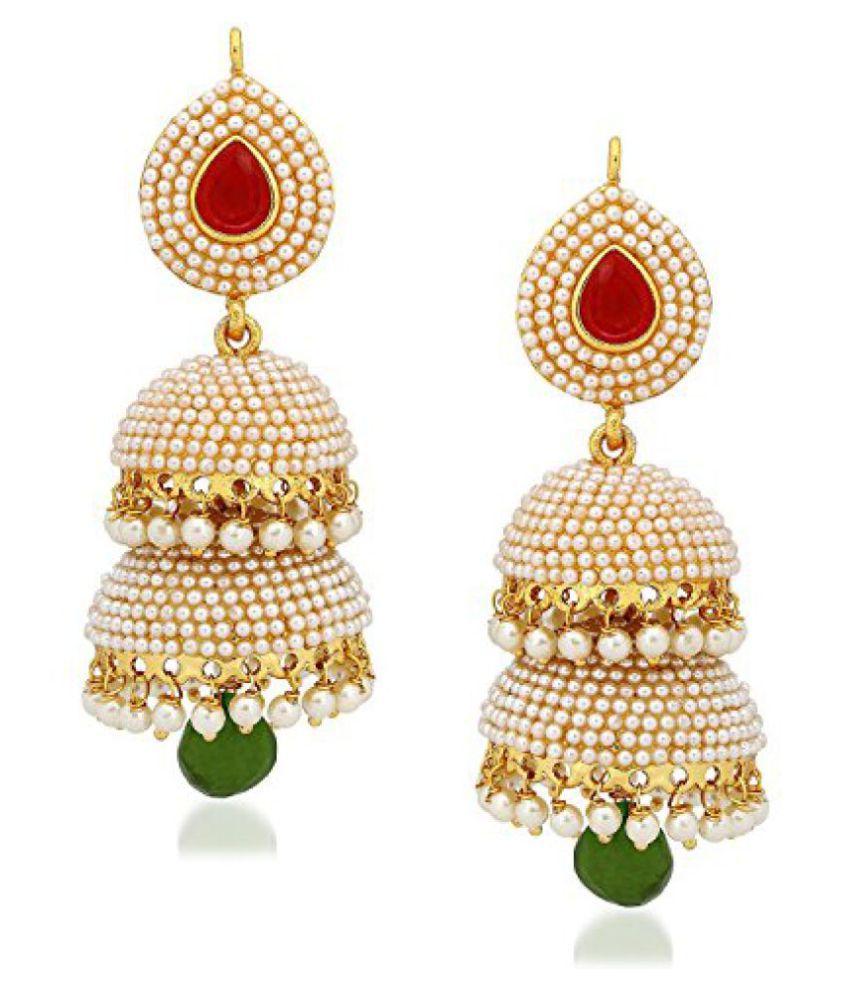 Shining Diva Stylish Fancy Party Wear Pearl Jhumki / Jhumka Earrings For Girls and Women