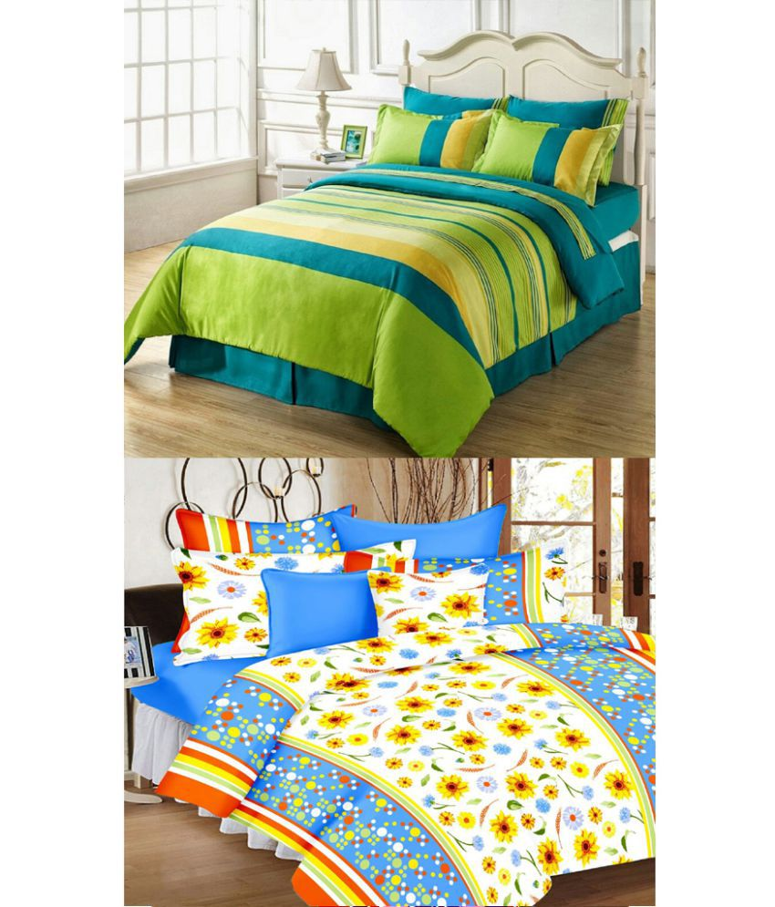 Quick Shoppee Double Cotton Multi Printed Bed Sheet Set Of 6 ...