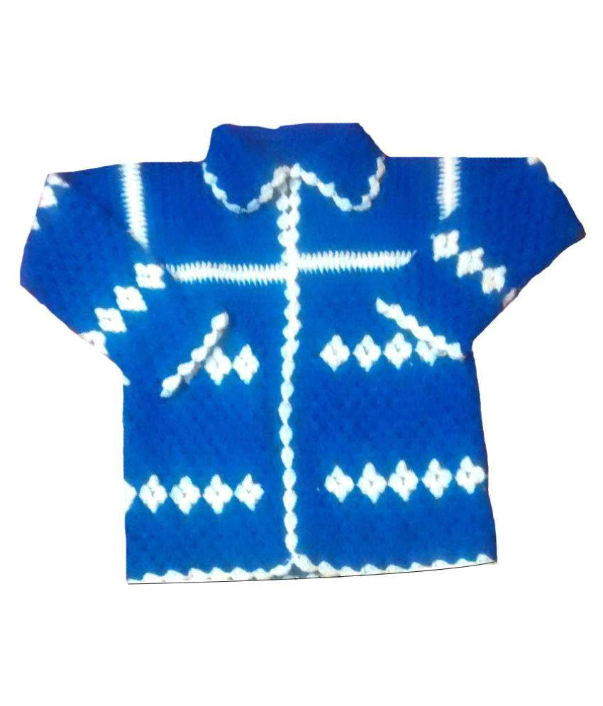 Swastik Collection Blue Wollen Cardigans