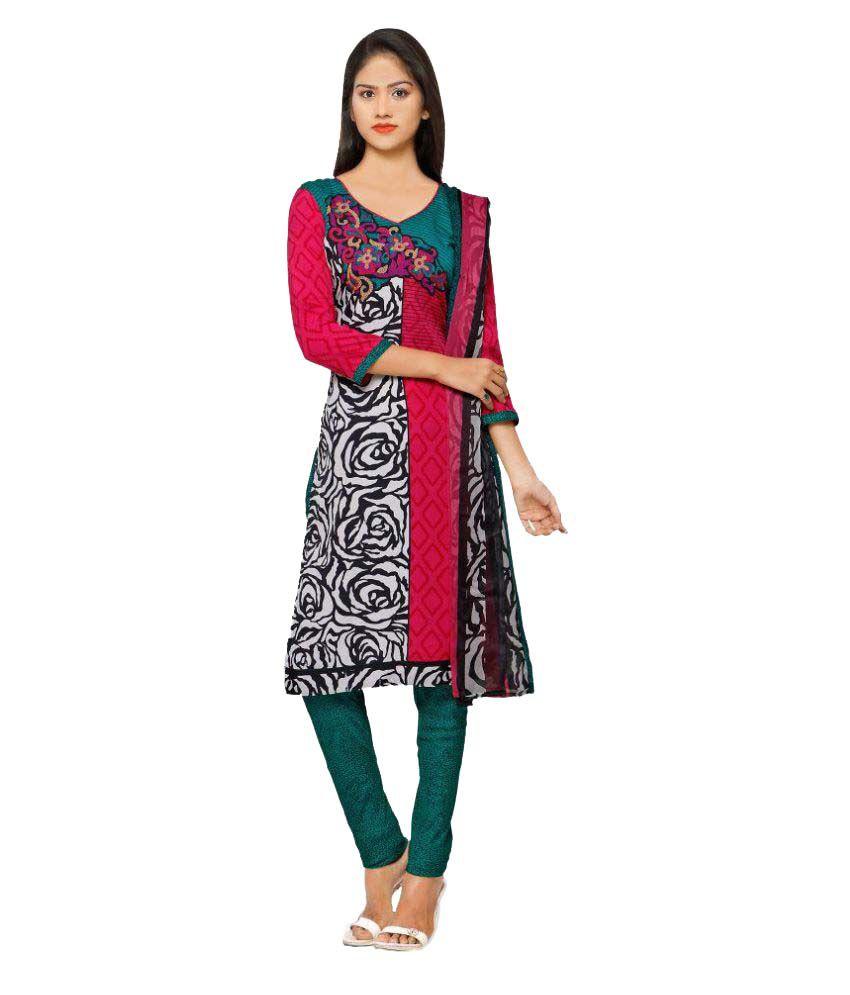 Vkaran Multicoloured Crepe Dress Material