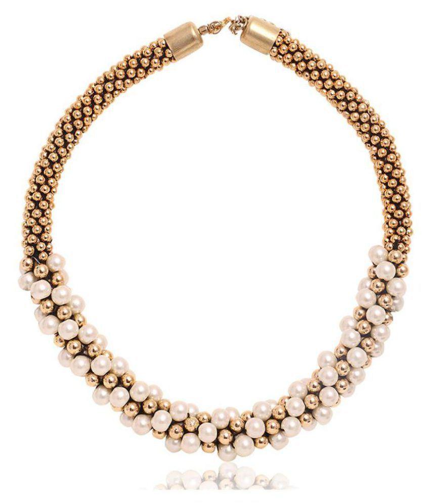 Minhaz Multicolour Golden Pearls Necklace