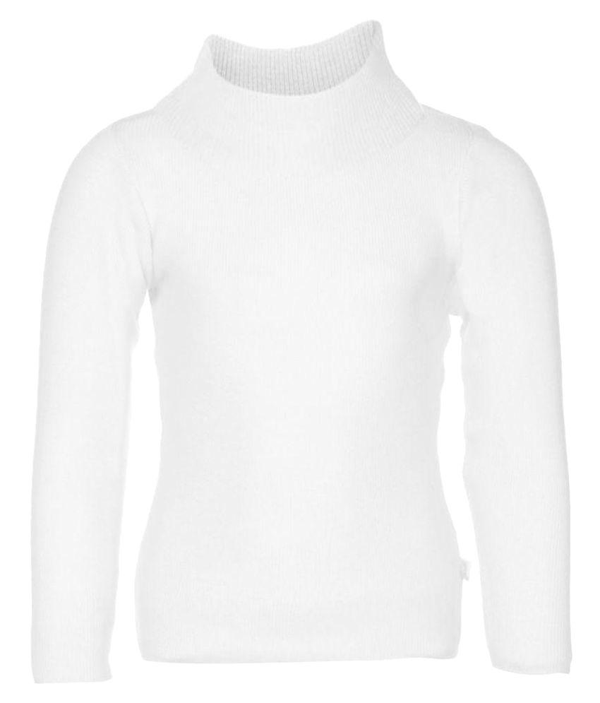 Ad & Av Full Sleeve High Neck White Sweater
