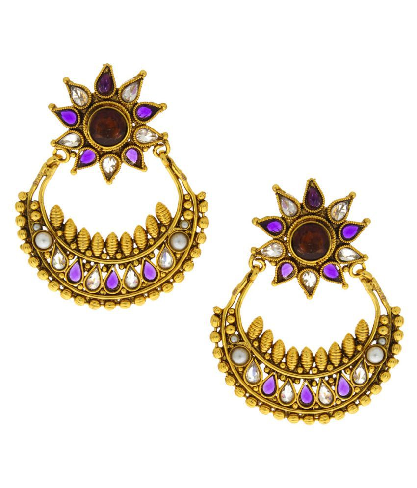 Anuradha Art Golden Contemporary Earrings