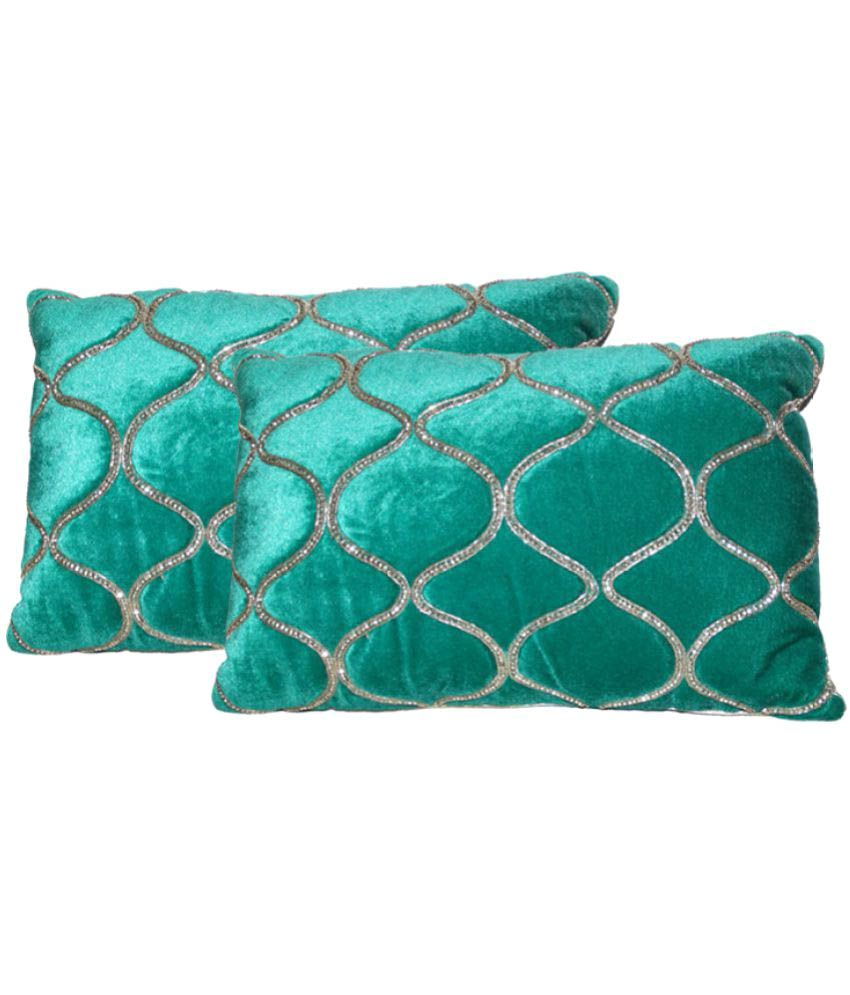 Decorative Home Set of 2 Velvet Cushion Covers with Fillers 30X40 cm (12X16)