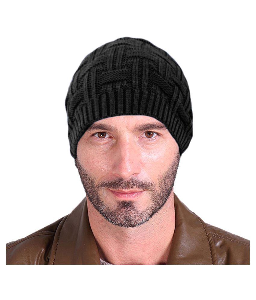 Hupshy Black Checkered Wool Caps