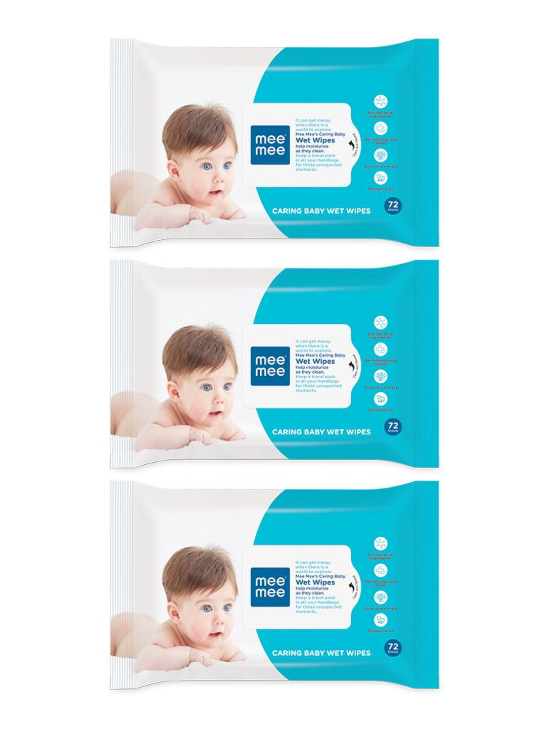 Mee Mee Caring Baby wet Wipes with Aloe Vera-72 Pcs Pack of 3