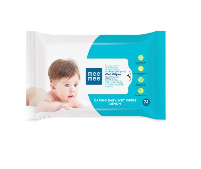 Mee Mee Caring Baby Wet Wipes with Lemon Fragrance-72 Pcs
