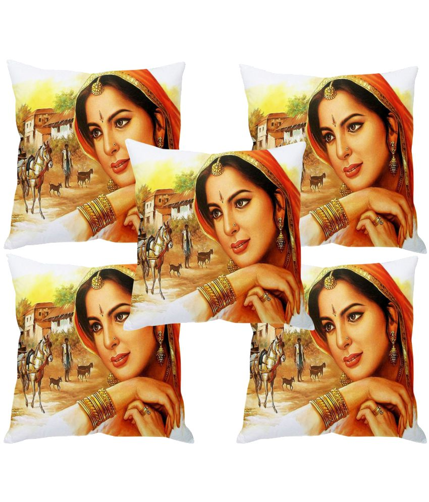 Multitex Set of 5 Polyester Cushion Covers 40X40 cm (16X16)