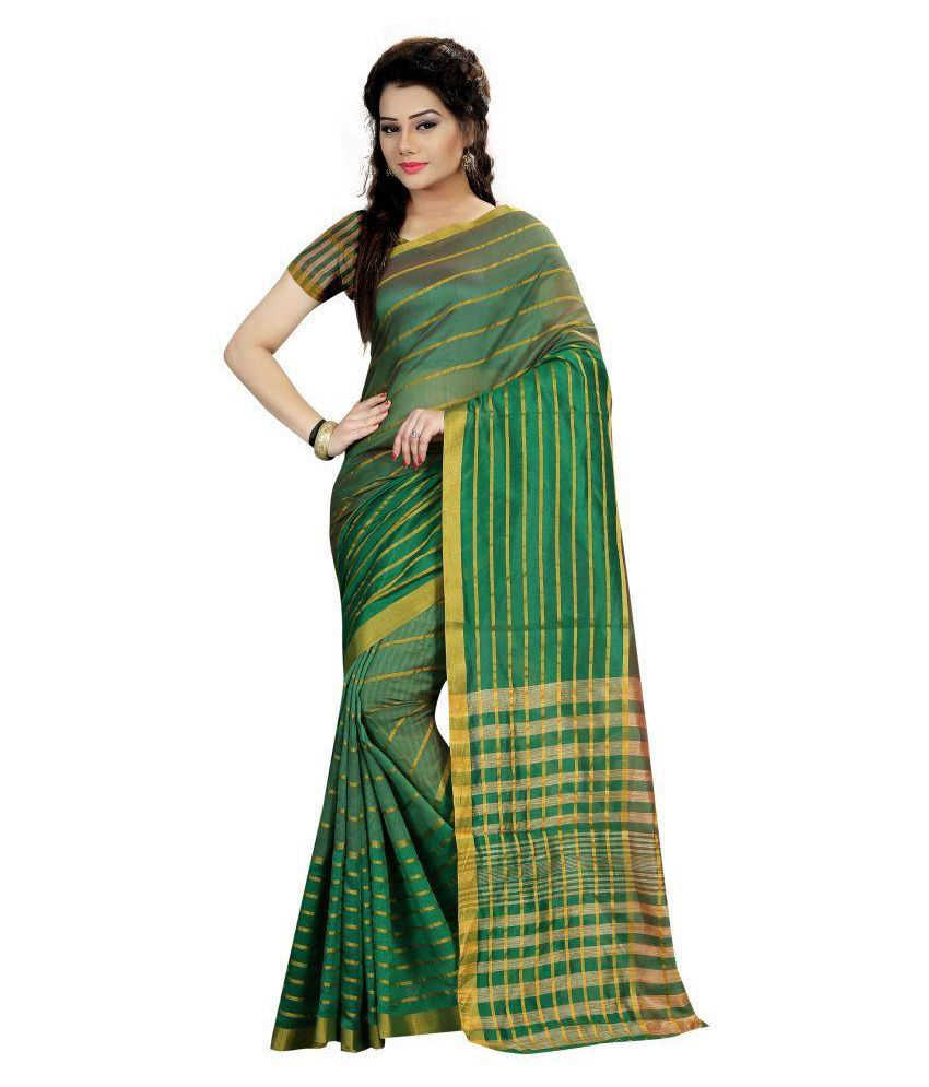 Gazal Fashions Green Cotton Silk Saree
